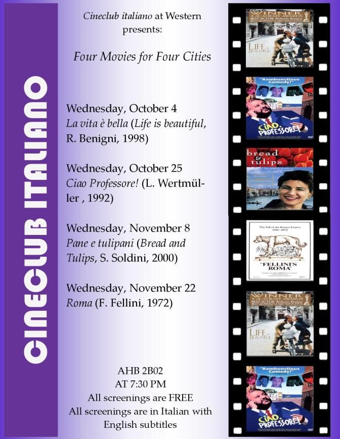 Cineclub italiano presents: Four Movies for Four Cities!